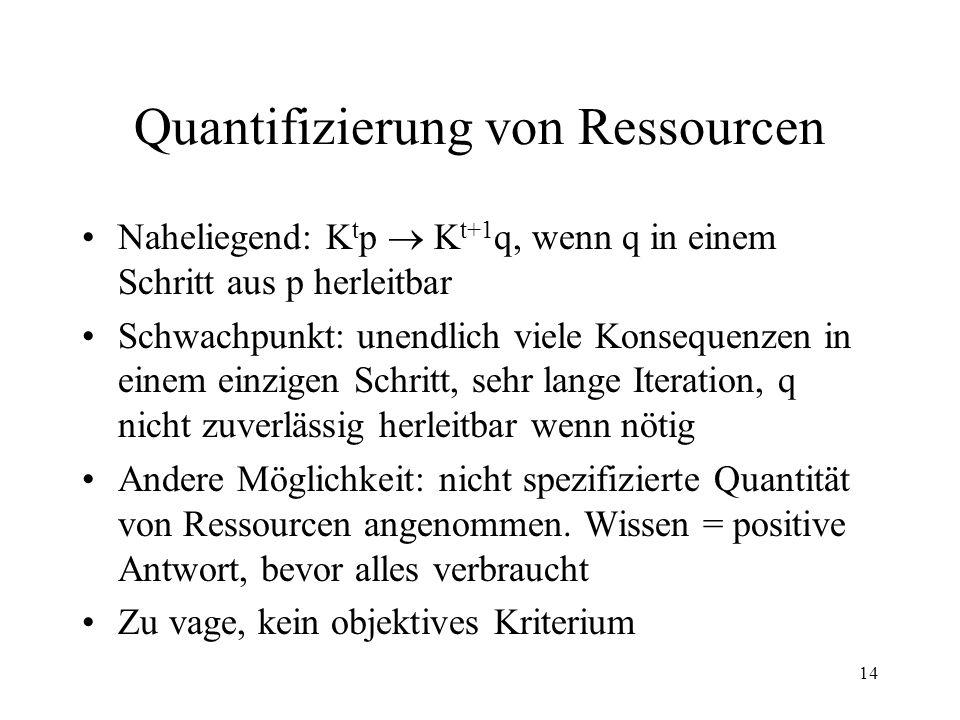 14 Quantifizierung von Ressourcen Naheliegend: K t p K t+1 q, wenn q in einem Schritt aus p herleitbar Schwachpunkt: unendlich viele Konsequenzen in e