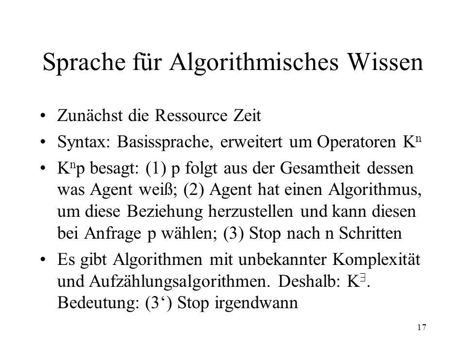17 Sprache für Algorithmisches Wissen Zunächst die Ressource Zeit Syntax: Basissprache, erweitert um Operatoren K n K n p besagt: (1) p folgt aus der