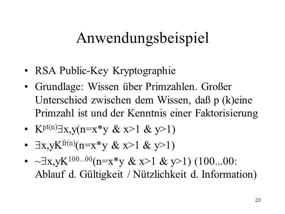 20 Anwendungsbeispiel RSA Public-Key Kryptographie Grundlage: Wissen über Primzahlen. Großer Unterschied zwischen dem Wissen, daß p (k)eine Primzahl i