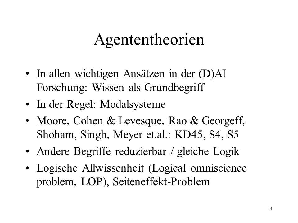 4 Agententheorien In allen wichtigen Ansätzen in der (D)AI Forschung: Wissen als Grundbegriff In der Regel: Modalsysteme Moore, Cohen & Levesque, Rao