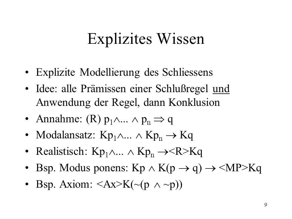 10 Dynamische epistemische Logik Gültige Regel – Atomare Aktion Komplexe Aktionen der dynamischen Logik: R 1 ;R 2, R 1 R 2, R * Formeln: [R]Kp, Kp (der Agent weiß p in allen/in einigen Zuständen nach der Ausführung der Aktion R) Höhere Abstraktion: Hilfsaktion F=(R 1...