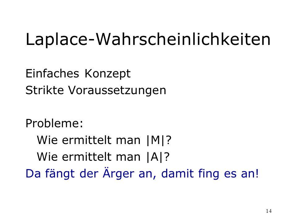 14 Laplace-Wahrscheinlichkeiten Einfaches Konzept Strikte Voraussetzungen Probleme: Wie ermittelt man |M|? Wie ermittelt man |A|? Da fängt der Ärger a