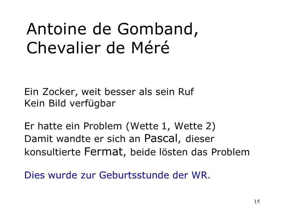 15 Antoine de Gomband, Chevalier de Méré Ein Zocker, weit besser als sein Ruf Kein Bild verfügbar Er hatte ein Problem (Wette 1, Wette 2) Damit wandte