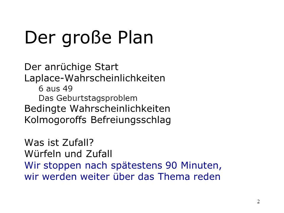 2 Der große Plan Der anrüchige Start Laplace-Wahrscheinlichkeiten 6 aus 49 Das Geburtstagsproblem Bedingte Wahrscheinlichkeiten Kolmogoroffs Befreiung