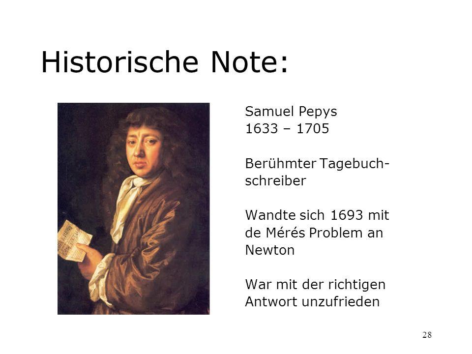 28 Historische Note: Samuel Pepys 1633 – 1705 Berühmter Tagebuch- schreiber Wandte sich 1693 mit de Mérés Problem an Newton War mit der richtigen Antw