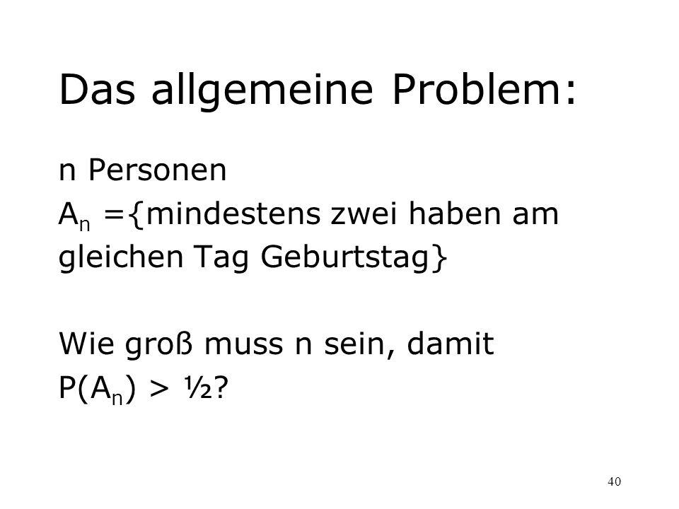 40 Das allgemeine Problem: n Personen A n ={mindestens zwei haben am gleichen Tag Geburtstag} Wie groß muss n sein, damit P(A n ) > ½?