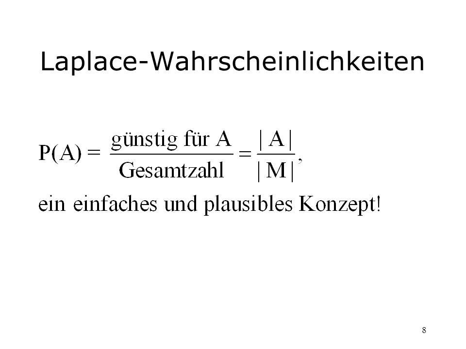 39 Lösung Es ist günstig, das Gegenereignis zu betrachten: Ā = {keine zwei haben am gleichen Tag Geburtstag} |M| = 365 5 | Ā | = 365364 363 362361 Man erhält: P(A) =1-P(Ā) = 0,027