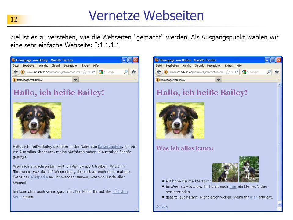 12 Vernetze Webseiten Ziel ist es zu verstehen, wie die Webseiten