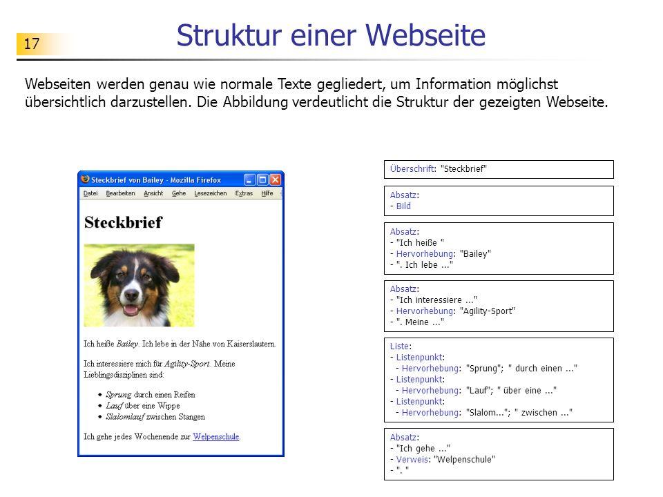 17 Struktur einer Webseite Webseiten werden genau wie normale Texte gegliedert, um Information möglichst übersichtlich darzustellen. Die Abbildung ver