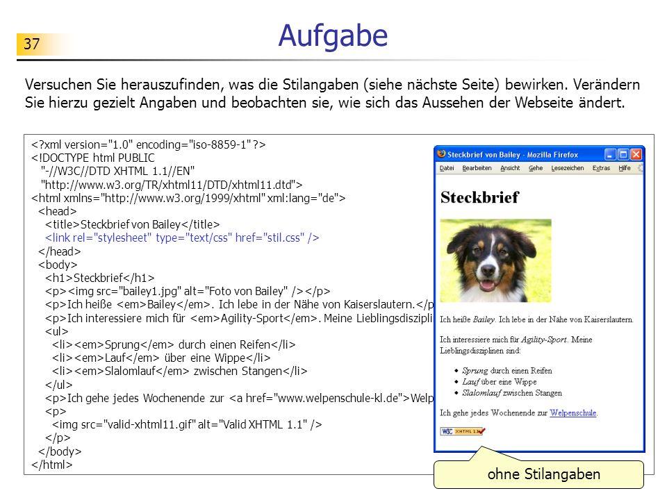37 Aufgabe <!DOCTYPE html PUBLIC