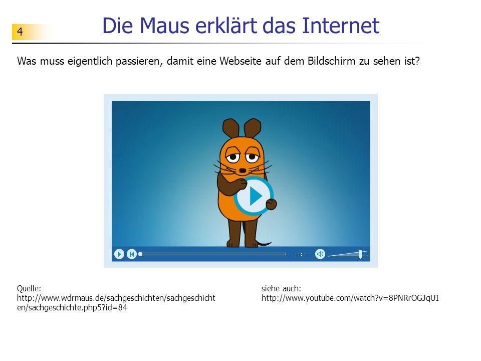 4 Die Maus erklärt das Internet Was muss eigentlich passieren, damit eine Webseite auf dem Bildschirm zu sehen ist? Quelle: http://www.wdrmaus.de/sach