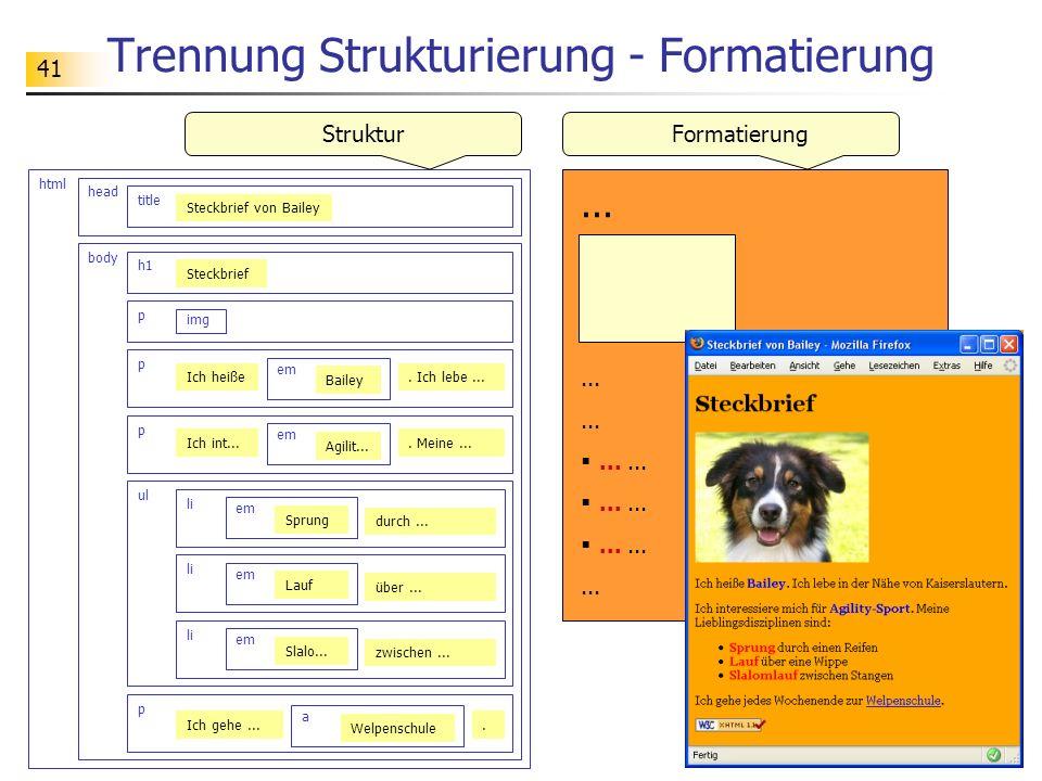 41 Trennung Strukturierung - Formatierung html head title Steckbrief von Bailey body h1 p img p Ich heiße em Bailey ul li. Ich lebe... p Ich int... em