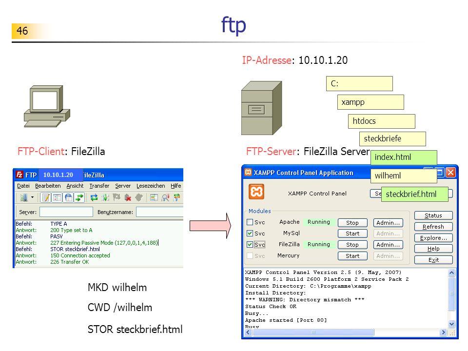 46 ftp FTP-Client: FileZillaFTP-Server: FileZilla Server IP-Adresse: 10.10.1.20 C: xampp htdocs steckbriefe index.html wilheml steckbrief.html MKD wil