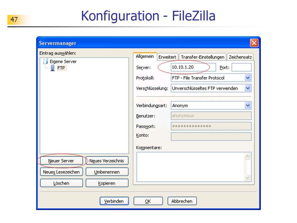 47 Konfiguration - FileZilla