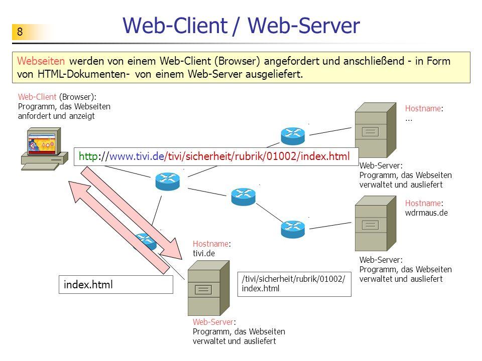 8 Web-Client / Web-Server Web-Client (Browser): Programm, das Webseiten anfordert und anzeigt Webseiten werden von einem Web-Client (Browser) angeford