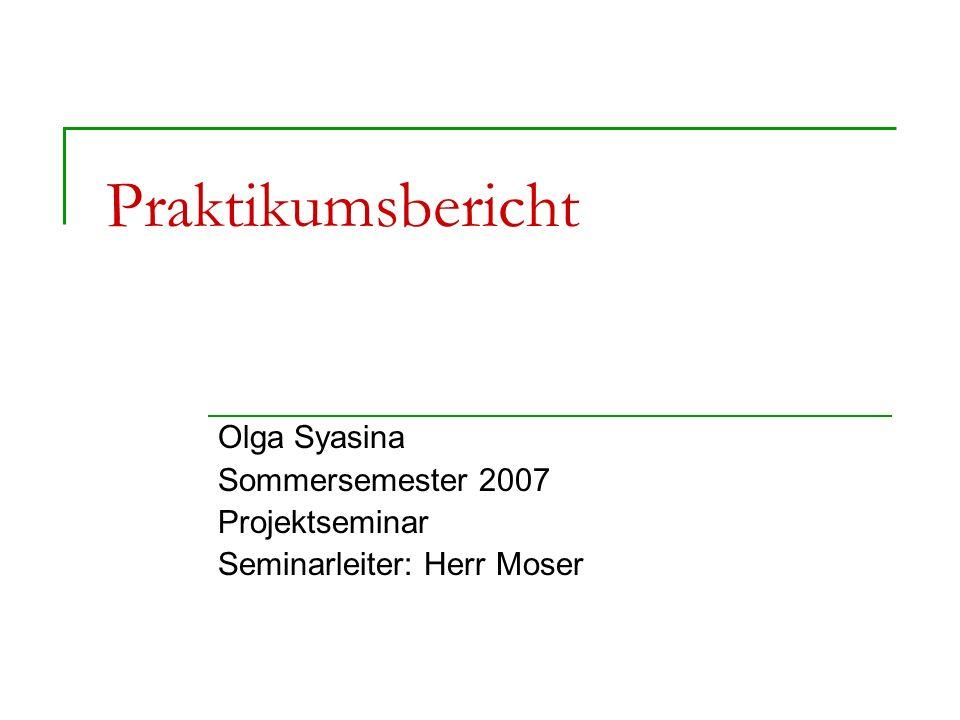 Praktikumsbericht Olga Syasina Sommersemester 2007 Projektseminar Seminarleiter: Herr Moser