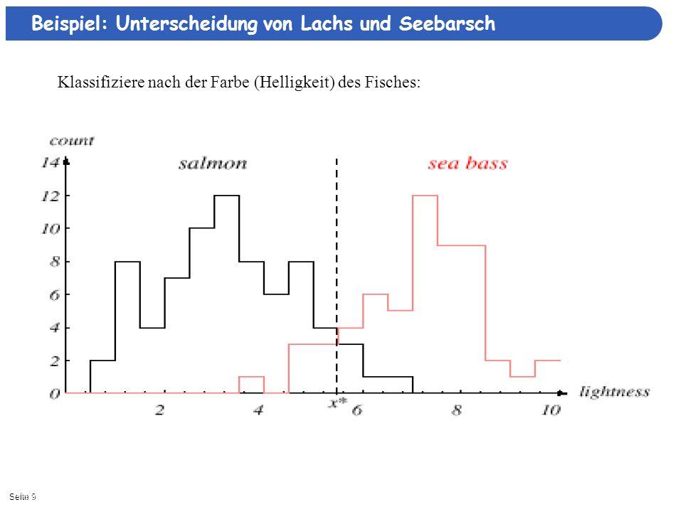 Seite 2011/16/2013| Bayessche Entscheidungstheorie P(ω=Barsch | x) P(ω=Lachs | x)