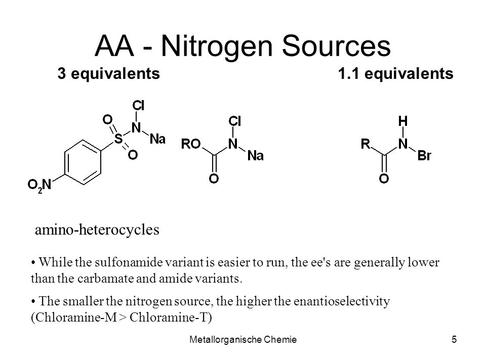 Metallorganische Chemie5 AA - Nitrogen Sources amino-heterocycles While the sulfonamide variant is easier to run, the ee's are generally lower than th