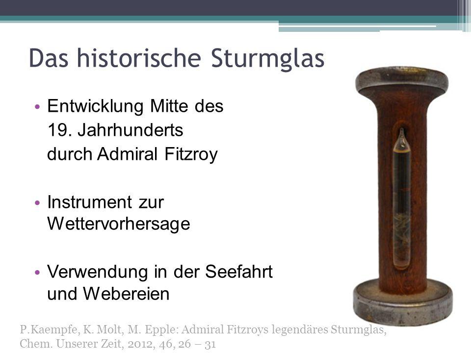 Das historische Sturmglas Entwicklung Mitte des 19. Jahrhunderts durch Admiral Fitzroy Instrument zur Wettervorhersage Verwendung in der Seefahrt und