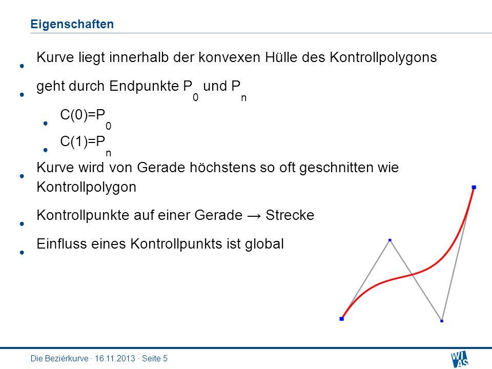 Eigenschaften Die Beziérkurve · 16.11.2013 · Seite 5 Kurve liegt innerhalb der konvexen Hülle des Kontrollpolygons geht durch Endpunkte P 0 und P n C(0)=P 0 C(1)=P n Kurve wird von Gerade höchstens so oft geschnitten wie Kontrollpolygon Kontrollpunkte auf einer Gerade Strecke Einfluss eines Kontrollpunkts ist global