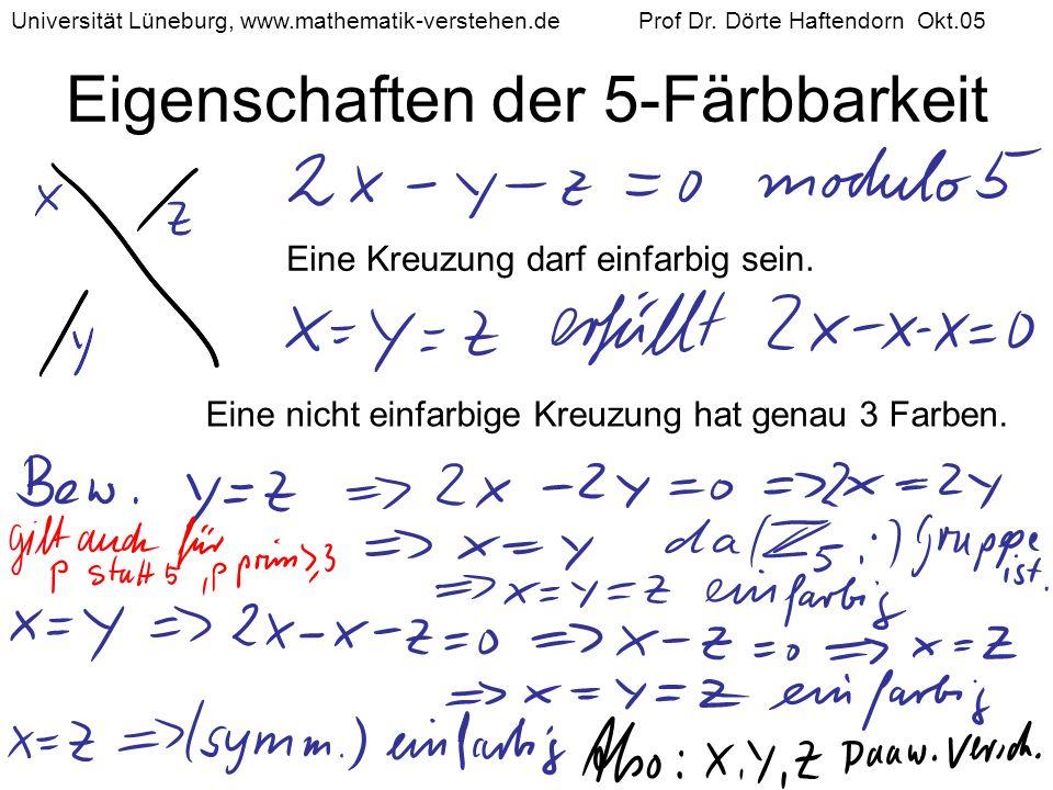 Eigenschaften der 5-Färbbarkeit Eine Kreuzung darf einfarbig sein. Eine nicht einfarbige Kreuzung hat genau 3 Farben. Universität Lüneburg, www.mathem