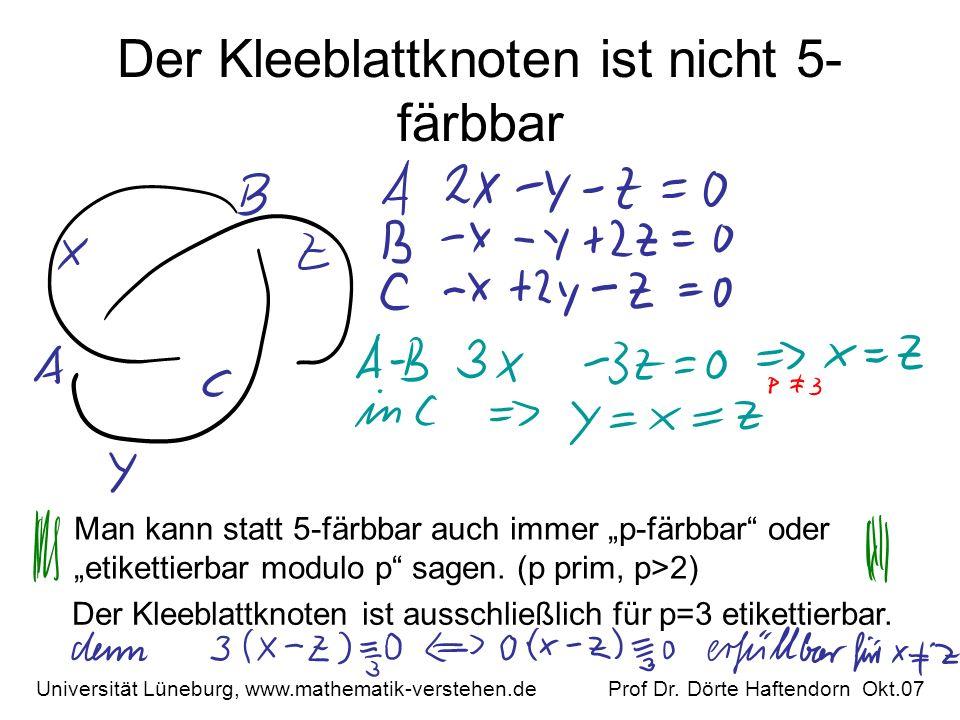 Der Kleeblattknoten ist nicht 5- färbbar Universität Lüneburg, www.mathematik-verstehen.de Prof Dr. Dörte Haftendorn Okt.07 Man kann statt 5-färbbar a