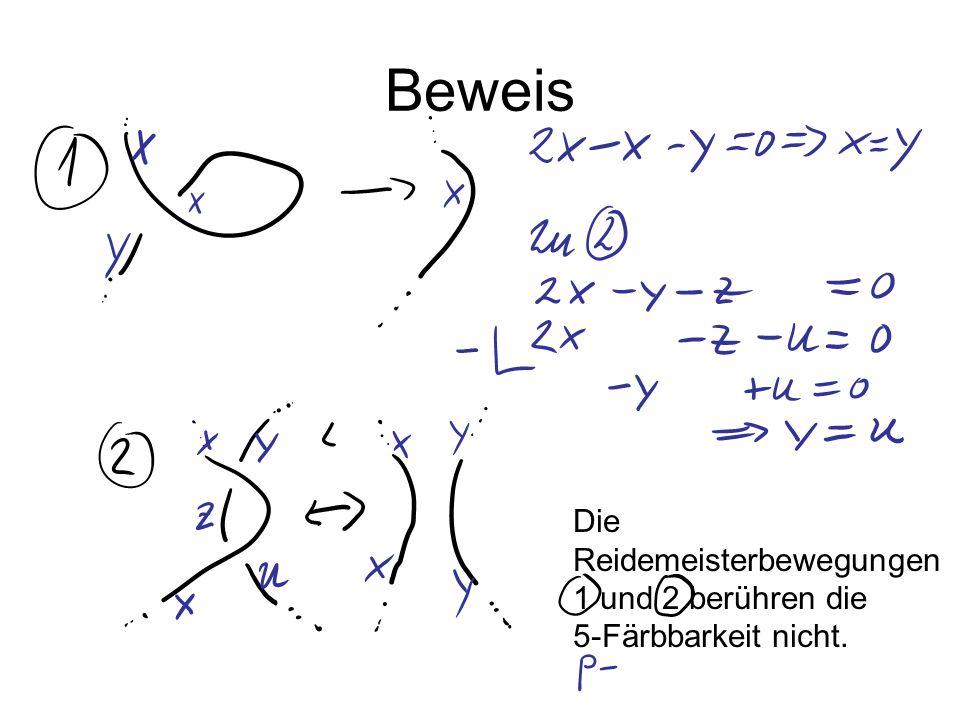 Beweis Die Reidemeisterbewegungen 1 und 2 berühren die 5-Färbbarkeit nicht.