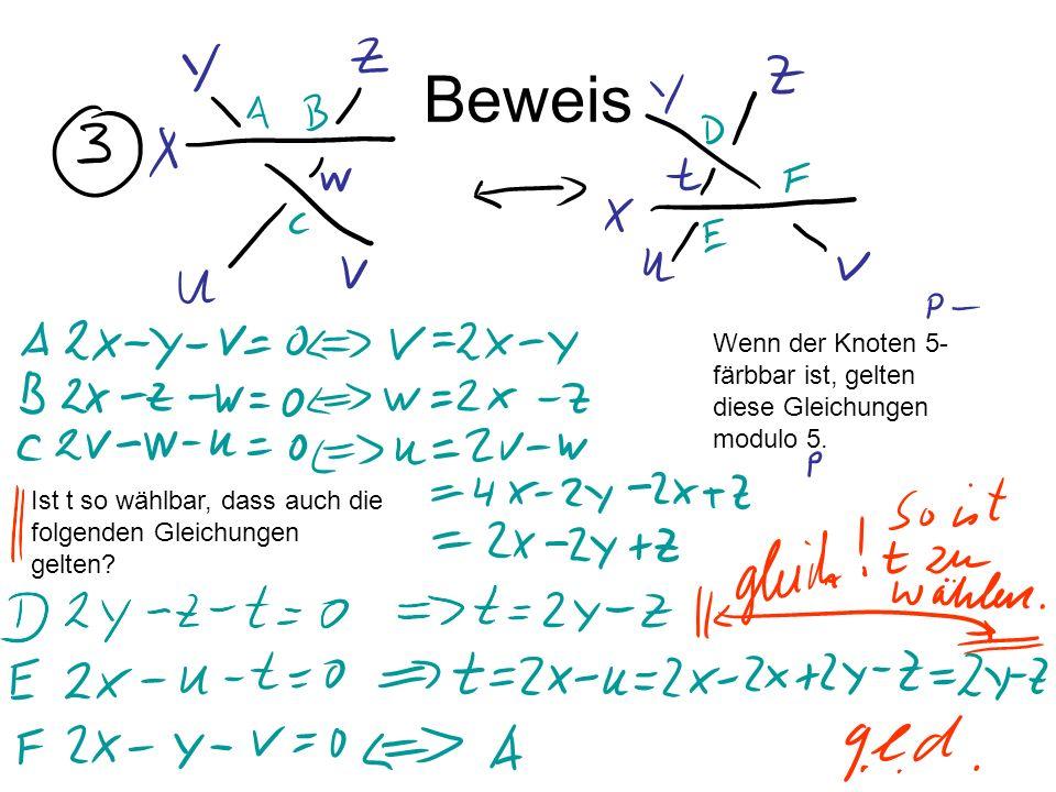 Beweis Wenn der Knoten 5- färbbar ist, gelten diese Gleichungen modulo 5. Ist t so wählbar, dass auch die folgenden Gleichungen gelten?