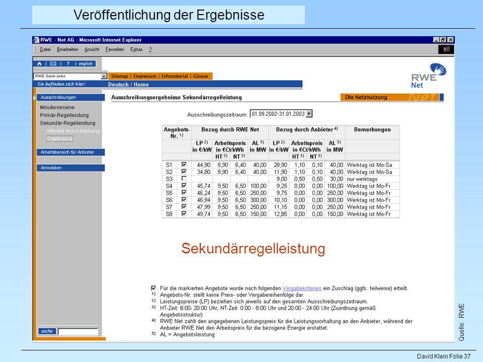 David Klein Folie 37 Quelle: RWE Veröffentlichung der Ergebnisse Sekundärregelleistung