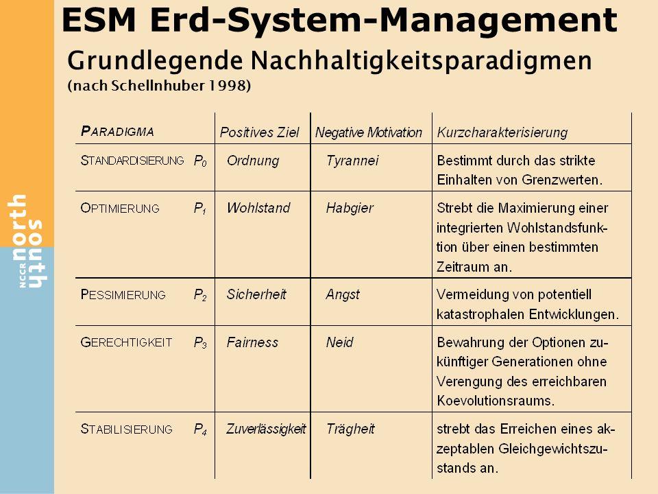 Grundlegende Nachhaltigkeitsparadigmen (nach Schellnhuber 1998) ESM Erd-System-Management
