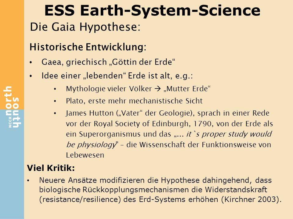 ESS Earth-System-Science Viel Kritik: Neuere Ansätze modifizieren die Hypothese dahingehend, dass biologische Rückkopplungsmechanismen die Widerstands
