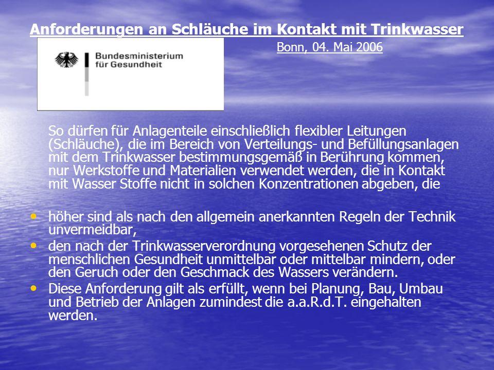 Anforderungen an Schläuche im Kontakt mit Trinkwasser Bonn, 04. Mai 2006 So dürfen für Anlagenteile einschließlich flexibler Leitungen (Schläuche), di