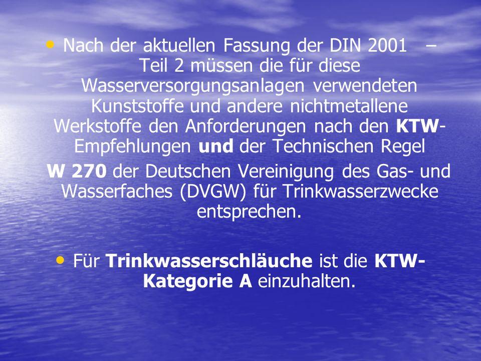 Nach der aktuellen Fassung der DIN 2001 – Teil 2 müssen die für diese Wasserversorgungsanlagen verwendeten Kunststoffe und andere nichtmetallene Werks