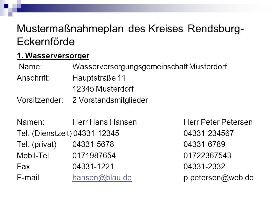 Mustermaßnahmeplan des Kreises Rendsburg- Eckernförde 1. Wasserversorger Name:Wasserversorgungsgemeinschaft Musterdorf Anschrift:Hauptstraße 11 12345