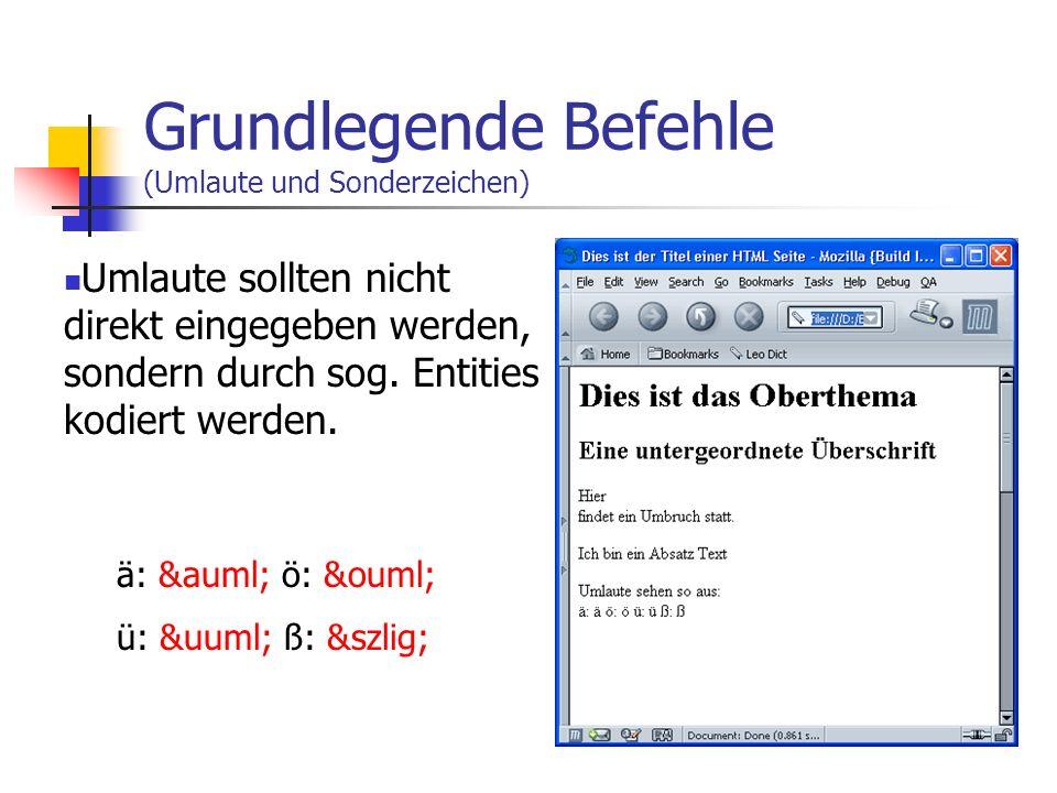 Grundlegende Befehle (Absätze) Absätze werden mit eingeleitet und mit geschlossen. Ein Absatz Text