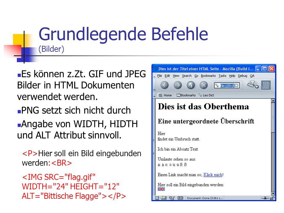 Grundlegende Befehle (Links) Links sind eines der wichtigsten HTML-Befehle Ein Link macht man so: Klick mich Oder