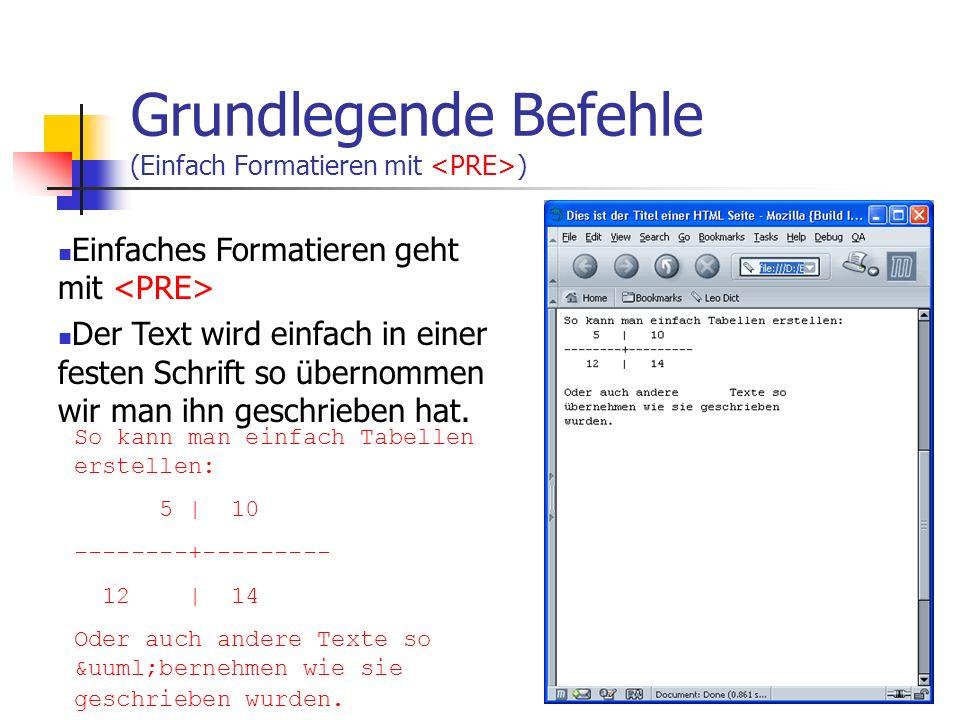 Grundlegende Befehle (Bilder) Es können z.Zt. GIF und JPEG Bilder in HTML Dokumenten verwendet werden. PNG setzt sich nicht durch Angabe von WIDTH, HI