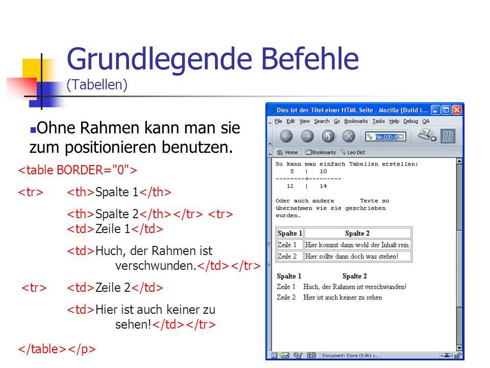 Grundlegende Befehle (Tabellen) Fast jegliche gestalterische Arbeit geht über Tabellen. Spalte 1 Spalte 2 Zeile 1 Hier kommt dann wohl der Inhalt rein