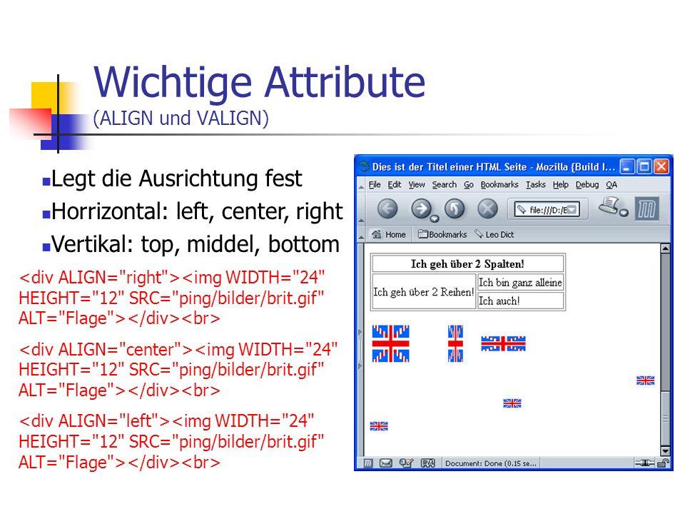 Wichtige Attribute (HEIGHT und WIDTH) Mit diesen Tags kann man die Breite und Höhe festlegen. Findet nicht nur bei Bildern Verwendung.