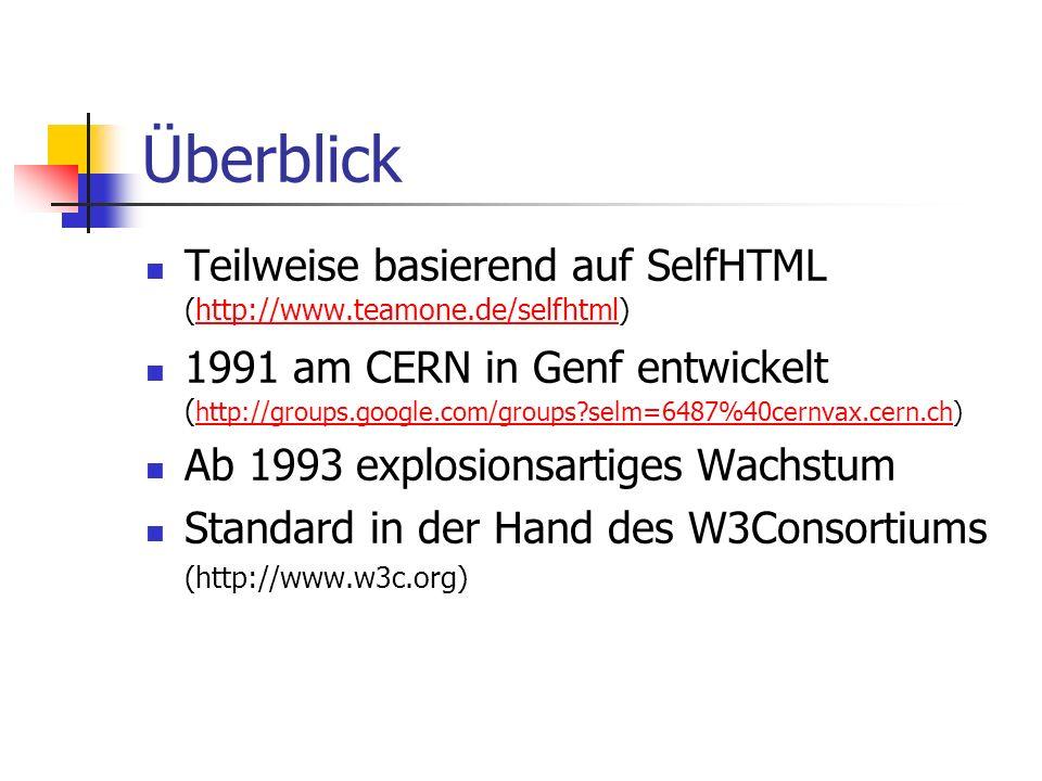 Einführung in HTML (Hypertext Markup Language) PING e.V. Weiterbildung 2001 Andreas Rossbacher
