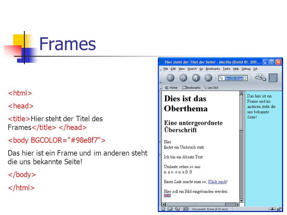 Frames Trennen des Fenstes in mehrere Bereiche (Frames) Hier steht der Titel der Seite! Hier steht das was die Leute zu sehen bekommen die keine Frame