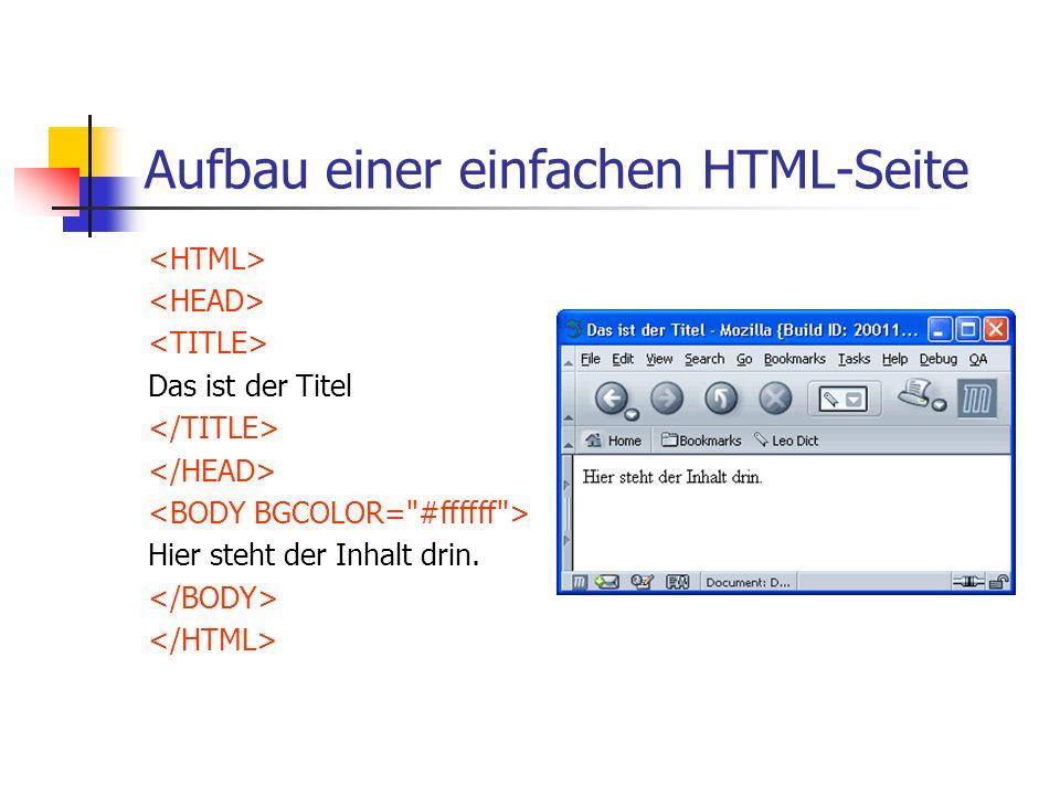 Aufbau eines HTML Befehls (Tag) Beeinflußter Text Beispiele: Dies ist fett Dies ist zentriert
