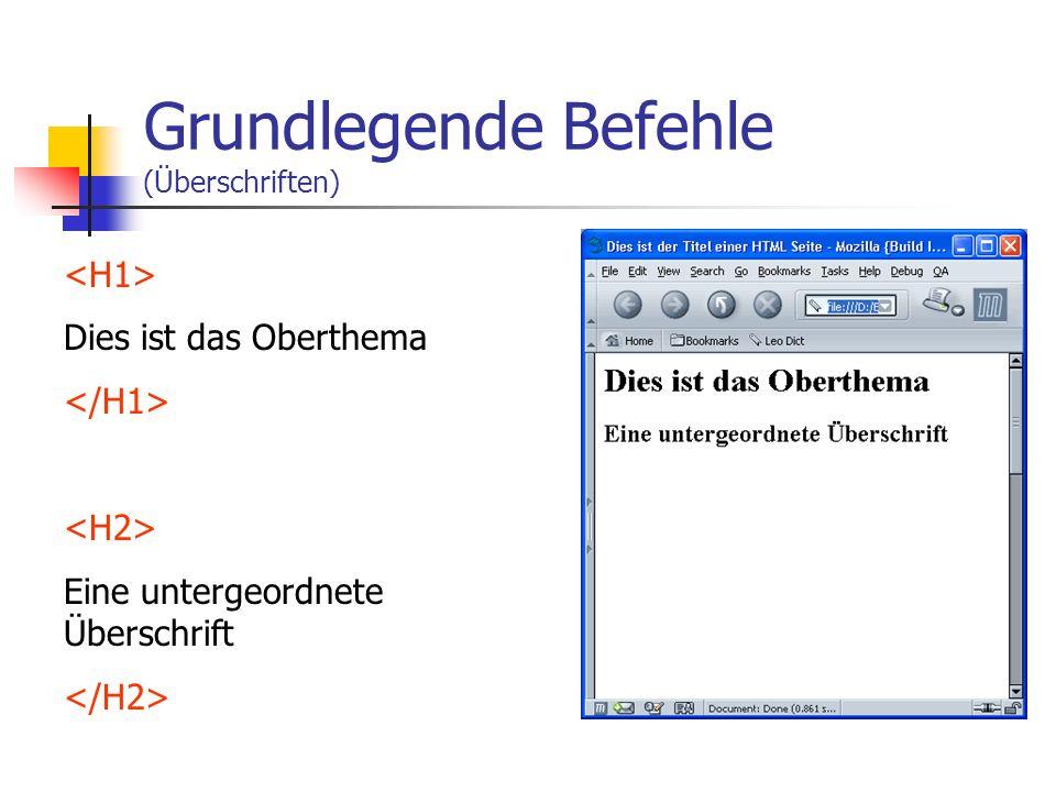 Aufbau einer einfachen HTML-Seite Das ist der Titel Hier steht der Inhalt drin.