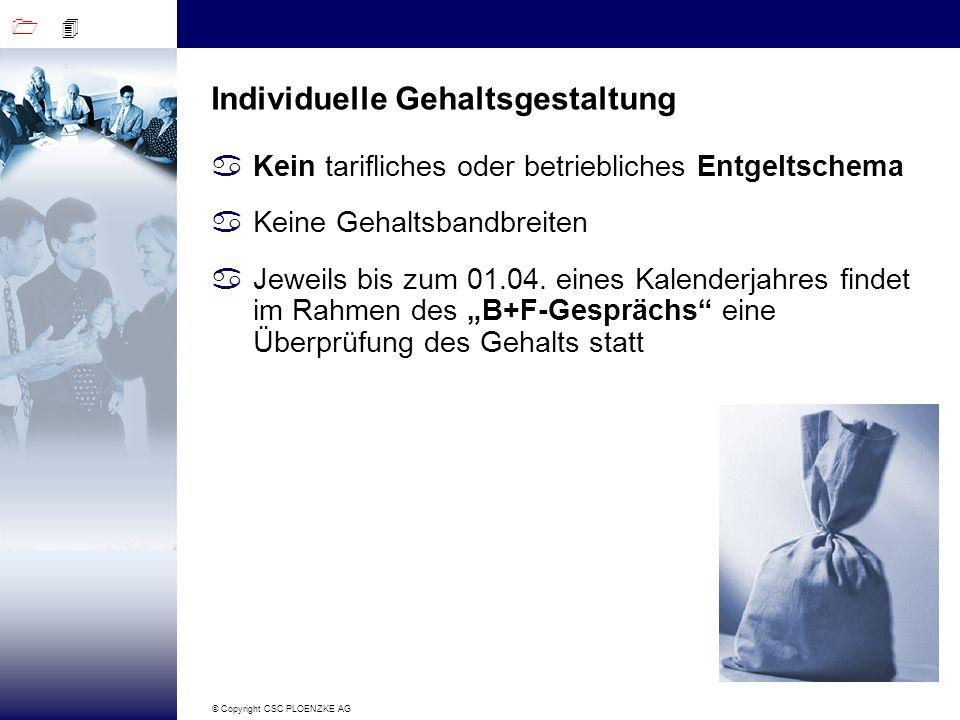 1 4 © Copyright CSC PLOENZKE AG Individuelle Gehaltsgestaltung aKein tarifliches oder betriebliches Entgeltschema aKeine Gehaltsbandbreiten aJeweils b