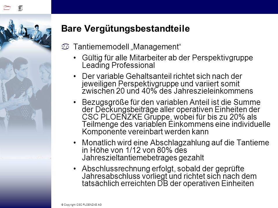 1 4 © Copyright CSC PLOENZKE AG Bare Vergütungsbestandteile aTantiememodell Management Gültig für alle Mitarbeiter ab der Perspektivgruppe Leading Pro