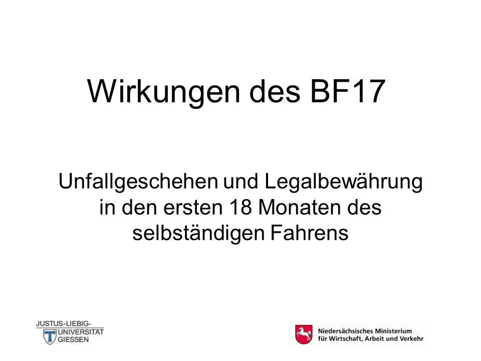Wirkungen des BF17 Unfallgeschehen und Legalbewährung in den ersten 18 Monaten des selbständigen Fahrens