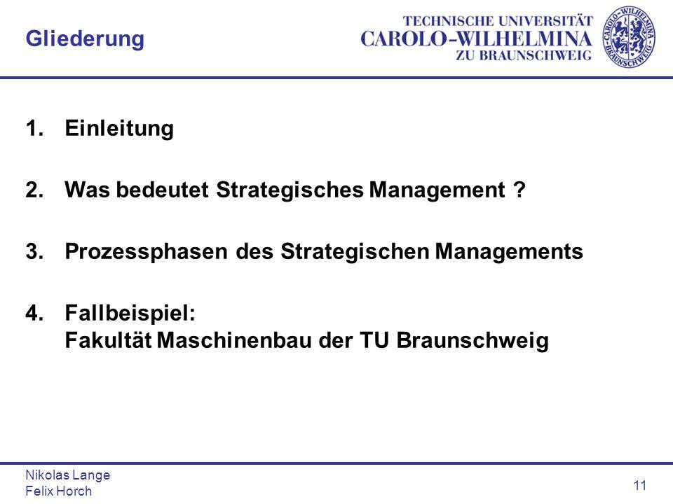 Nikolas Lange Felix Horch 11 Gliederung 1.Einleitung 2.Was bedeutet Strategisches Management ? 3.Prozessphasen des Strategischen Managements 4.Fallbei