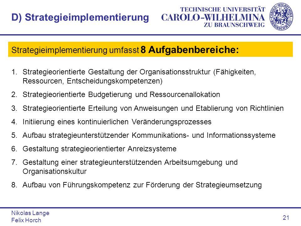 Nikolas Lange Felix Horch 21 D) Strategieimplementierung Strategieimplementierung umfasst 8 Aufgabenbereiche: 1.Strategieorientierte Gestaltung der Or