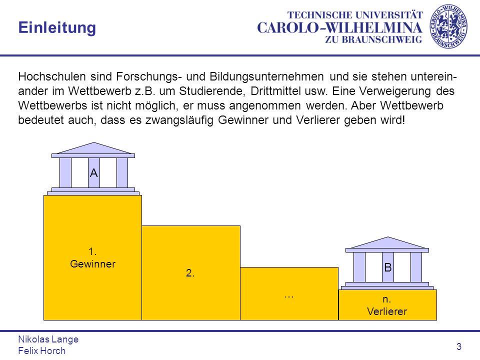 Nikolas Lange Felix Horch 3 Einleitung Hochschulen sind Forschungs- und Bildungsunternehmen und sie stehen unterein- ander im Wettbewerb z.B. um Studi