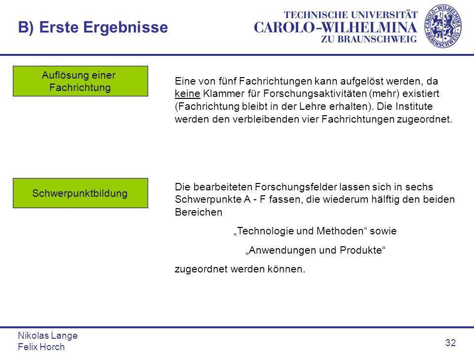 Nikolas Lange Felix Horch 32 B) Erste Ergebnisse Auflösung einer Fachrichtung Eine von fünf Fachrichtungen kann aufgelöst werden, da keine Klammer für